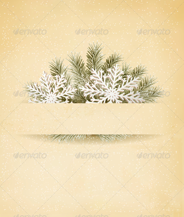 Christmas Retro Background with Tree Branches