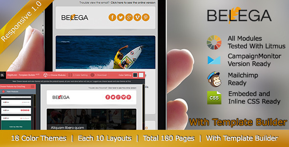 ThemeForest BELEGA-Flat Responsive Email With Template Builder 6239633