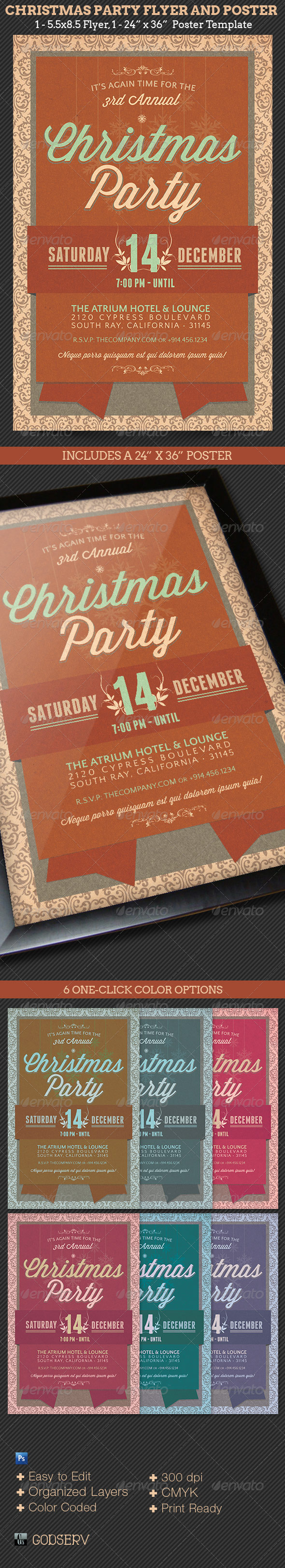 Christmas Party Flyer and Poster Template - Holidays Events