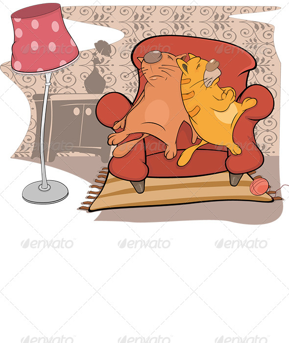 GraphicRiver Cats Friends Sleep on a Sofa Cartoon 6266992