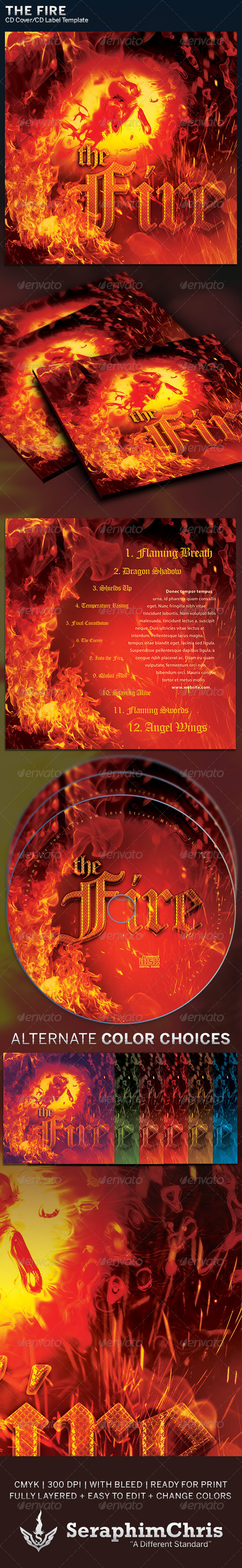 GraphicRiver The Fire CD Cover Artwork Template 6267116