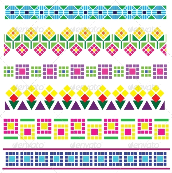 GraphicRiver Borders with Geometrical Flowers 6267358