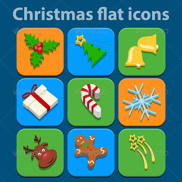 Flat Icons Set Christmas and New Year