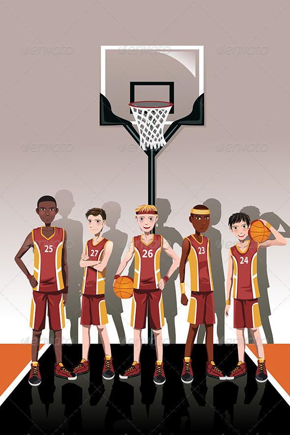 GraphicRiver Basketball Team Players 6267645