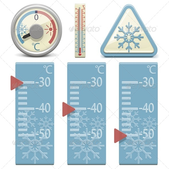GraphicRiver Vector Thermometer and Snow Sign 6267683