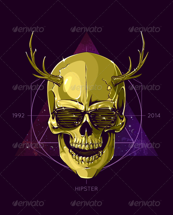 GraphicRiver Hipster Skull with Horns 6268110