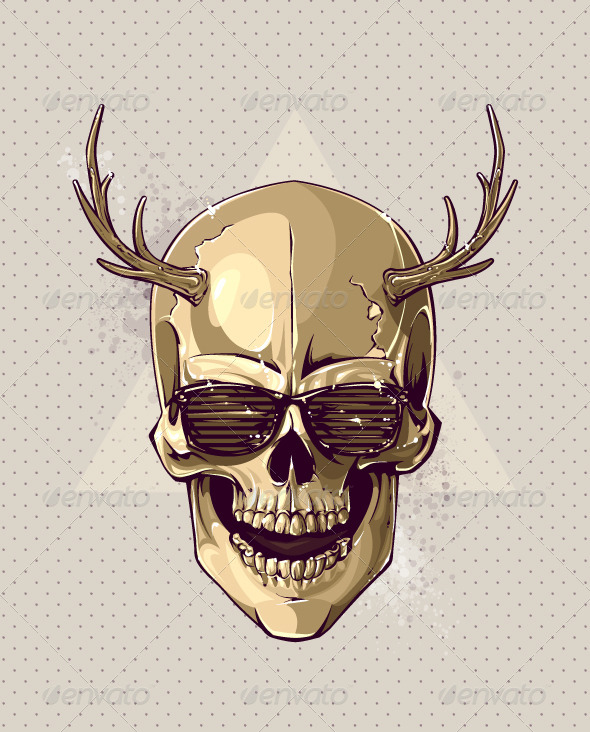 GraphicRiver Hipster Gold Skull 6268120