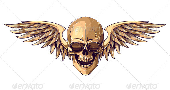 GraphicRiver Hipster Skull with Wings 6268423