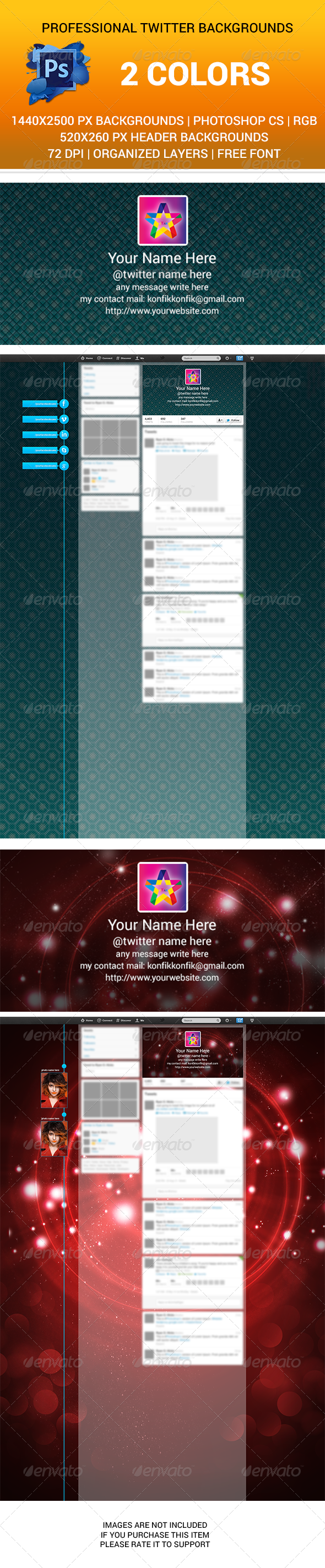 GraphicRiver Twitter Backgrounds and Title bg PSD New Design 6269001