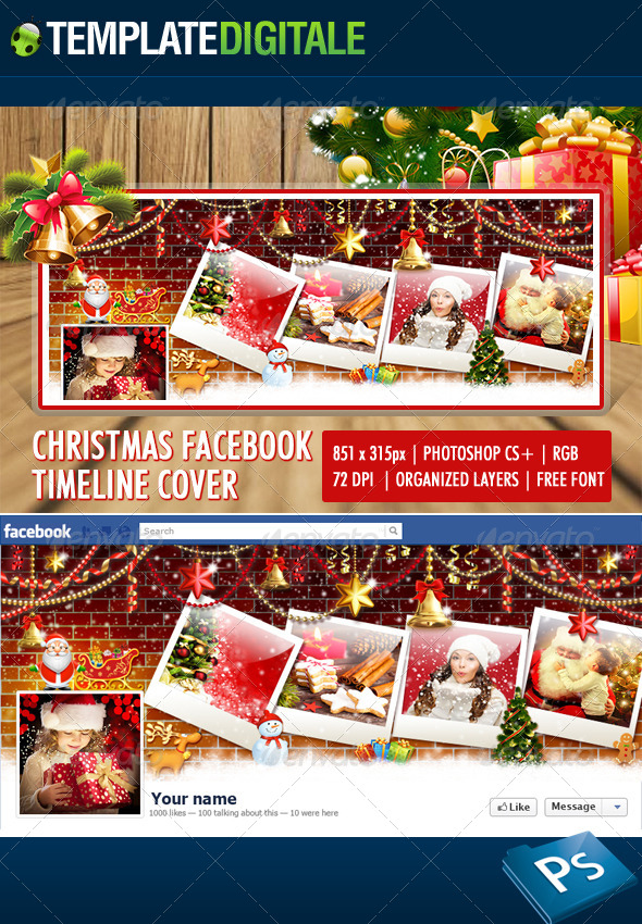 GraphicRiver Christmas facebook timeline Santa Claus 6269160