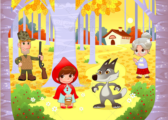 GraphicRiver Little Red Hiding Hood Scene 6269174