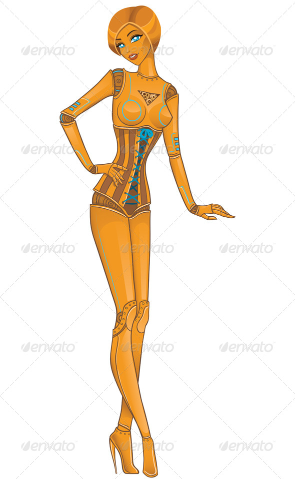 GraphicRiver Girl Robot Android on White 6269223