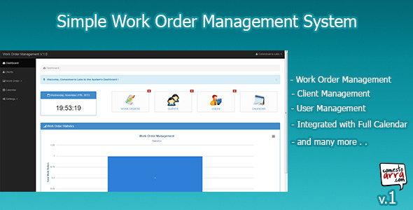 CodeCanyon Simple Work Order Management System 6182235
