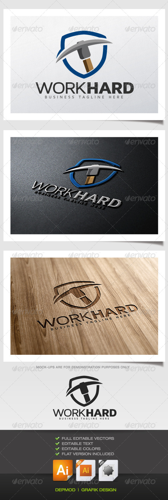 GraphicRiver Work Hard Logo 6270188