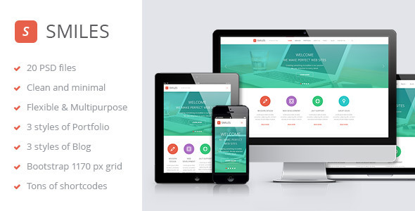 Smiles is a flexible and responsive PSD template for corporate/agency, business and portfolio sites. The layout consists of well-organized components – s