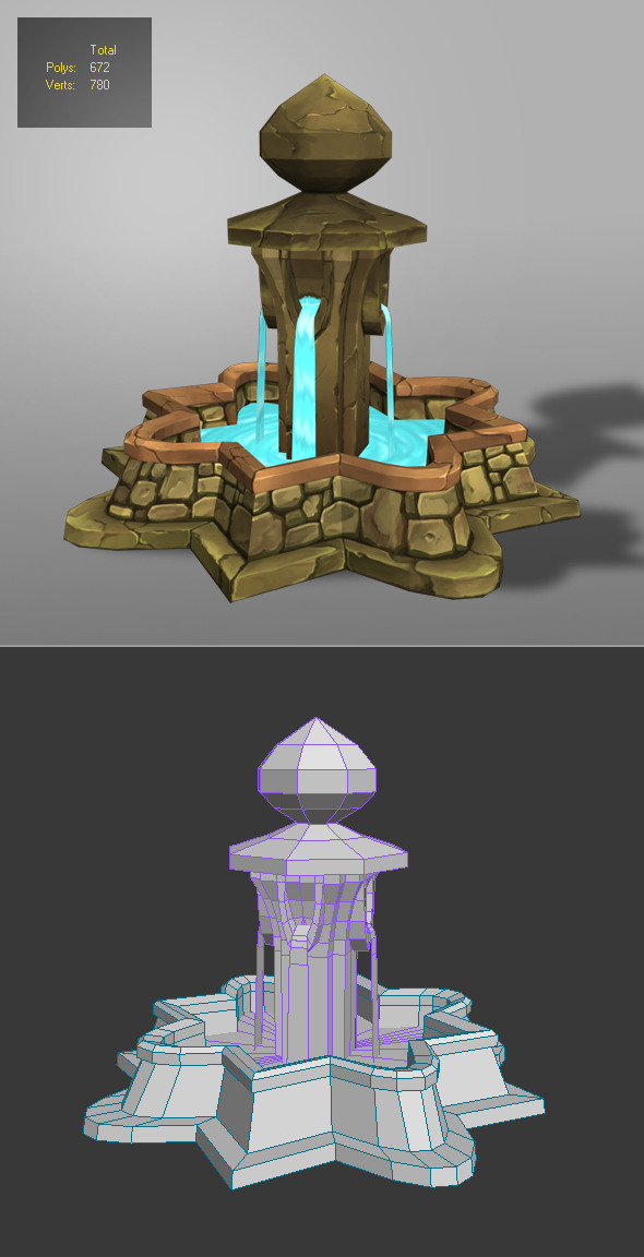 3DOcean fountain low poly 1 6270313