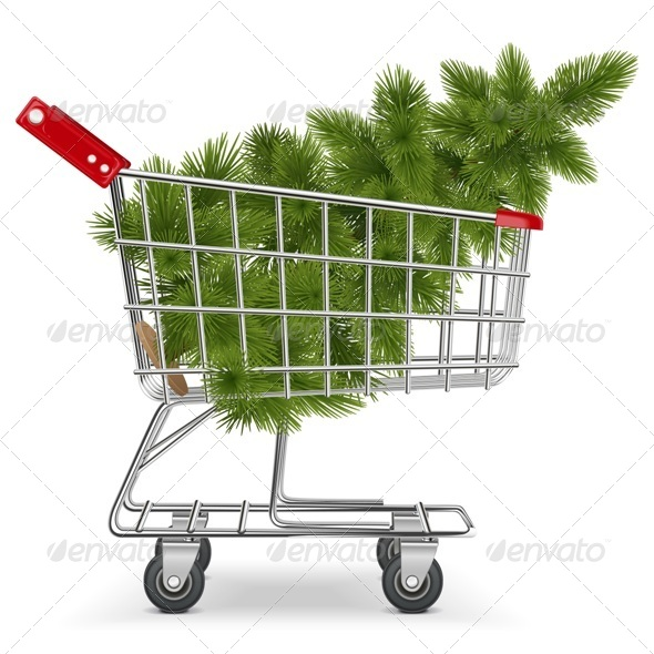 GraphicRiver Vector Cart with Christmas Tree 6270325