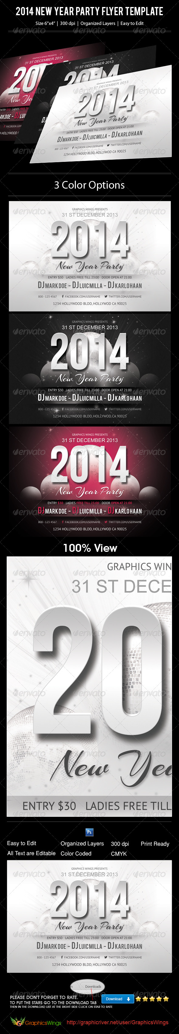 GraphicRiver 2014 New Year Party Flyer Template 6270346