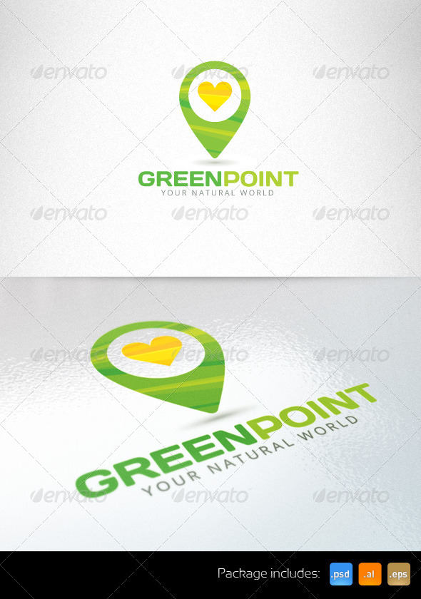 GraphicRiver Green Point Organic Eco Logo Template 6270479