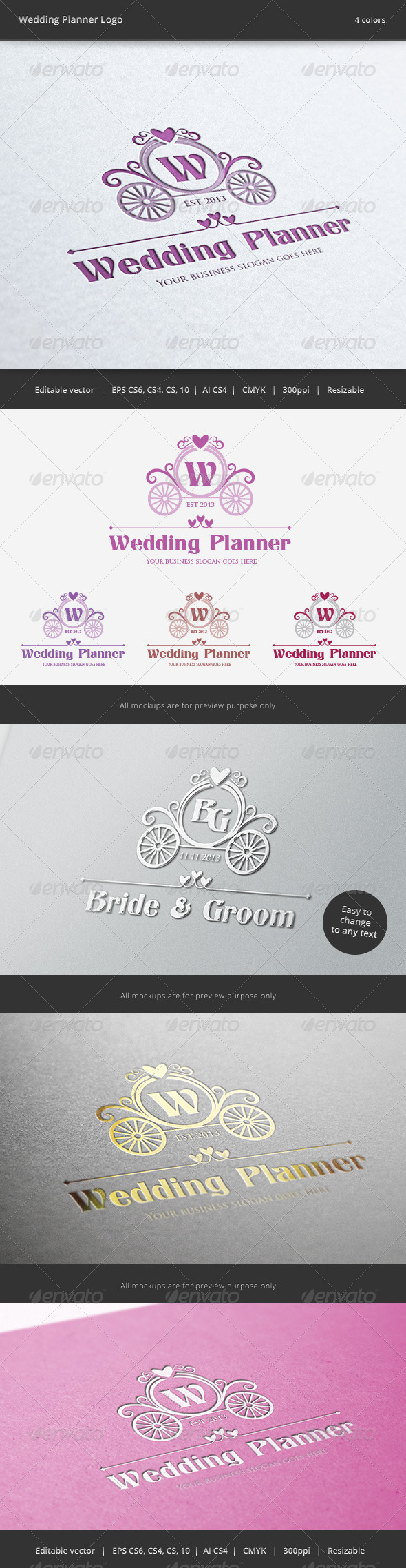 GraphicRiver Wedding Planner Letter Crest Logo 6271816