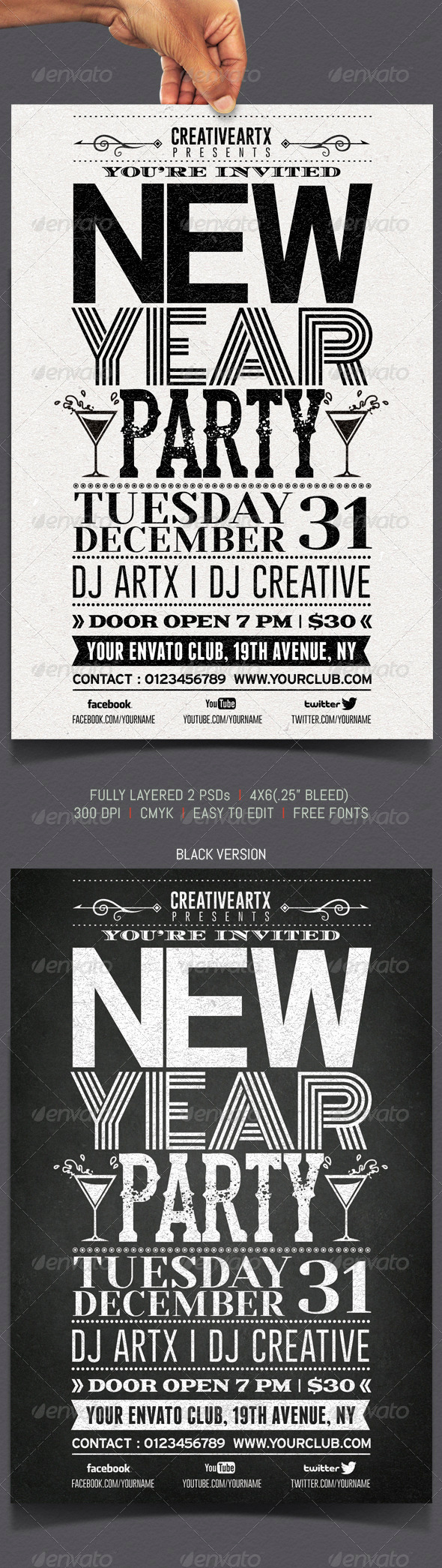 GraphicRiver New Year Party Typography Flyer 6271917