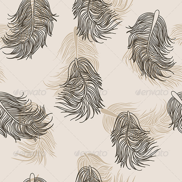 GraphicRiver Beige Feathers Pattern 6272254