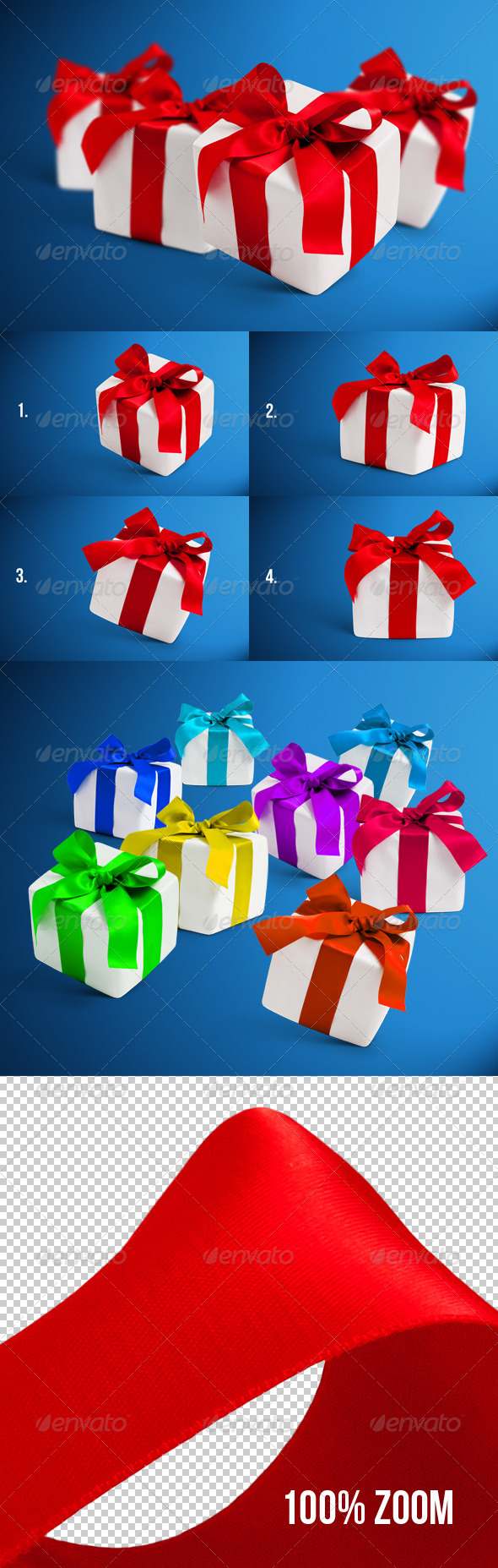 4 Gift Boxes with Shadows Photorealistic