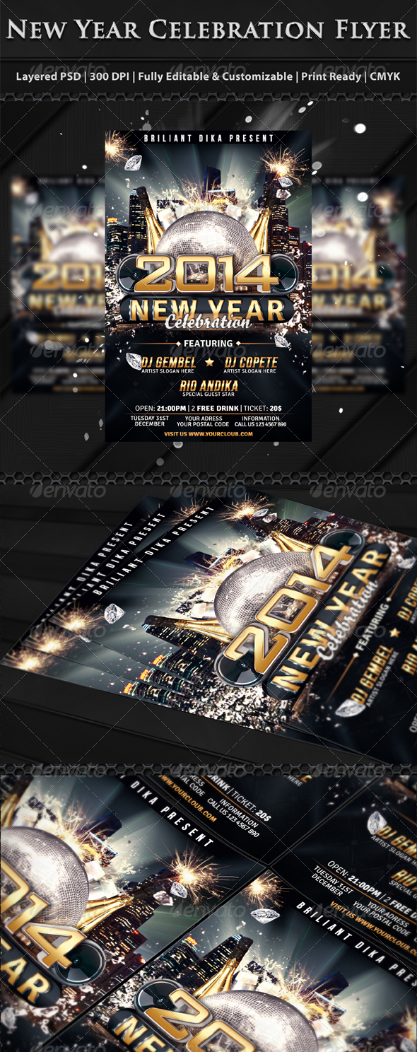 New Year Party Celebration Flyer Template