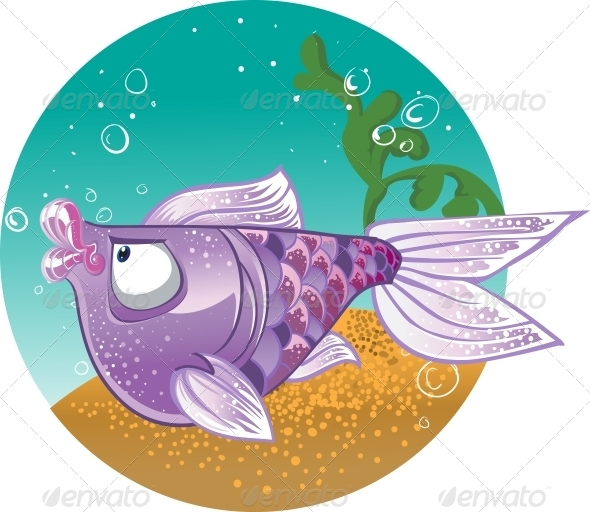 GraphicRiver Light Violet Fish on Bacground 6273096