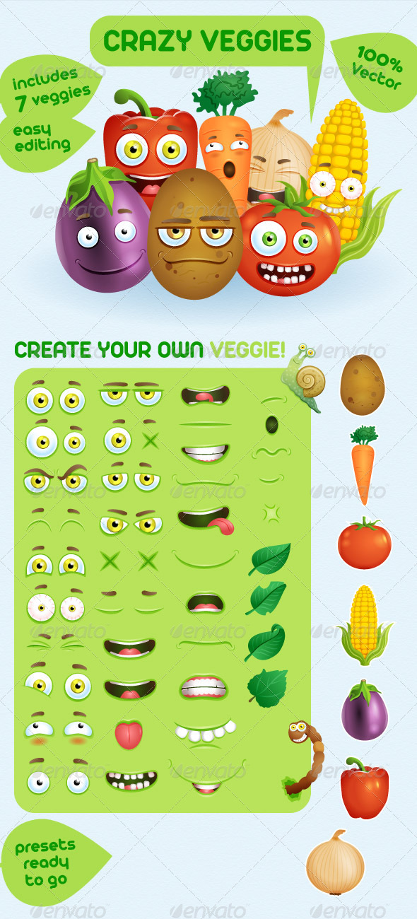 GraphicRiver Crazy Veggies Creation Kit 6273097