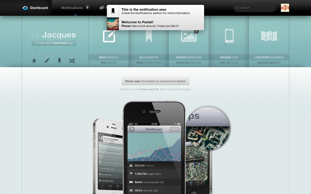 Pastel Dashboard — Admin Template + iPhone web app