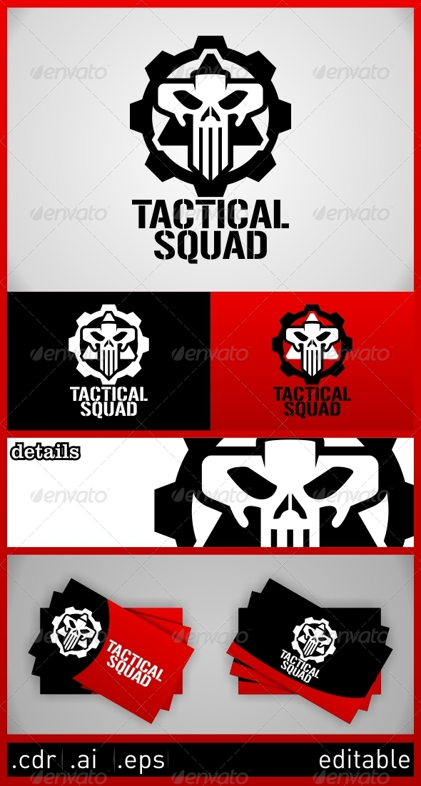 GraphicRiver Tactical Squad Skull Logo Template 6273186