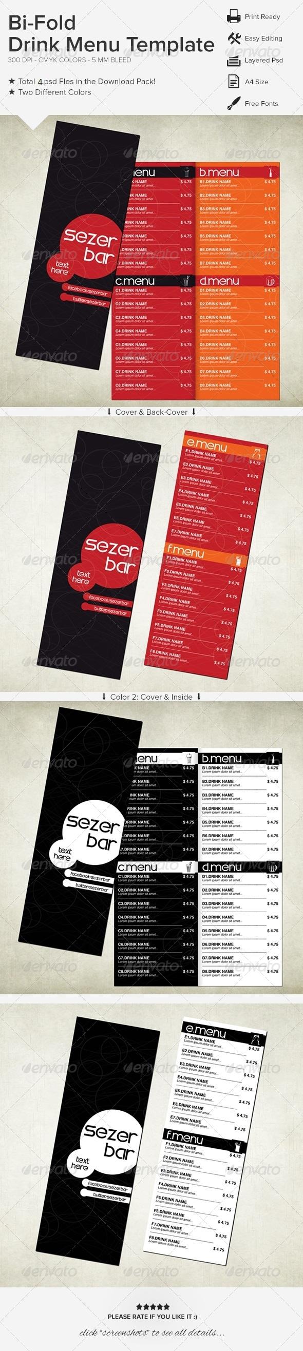 GraphicRiver Bi-Fold Drink Menu Template 6264702