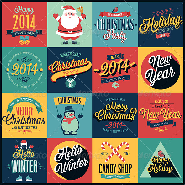 GraphicRiver Christmas Set Emblems and Decorative Elements 6273745