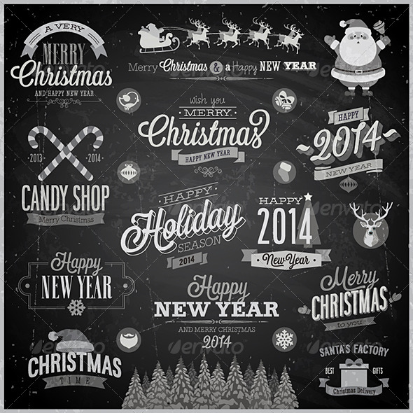 GraphicRiver Christmas Set of Labels and Emblems on Chalkboard 6273957