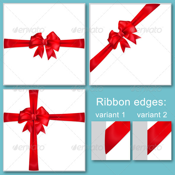 Red Bows with Ribbons - Decorative Symbols Decorative