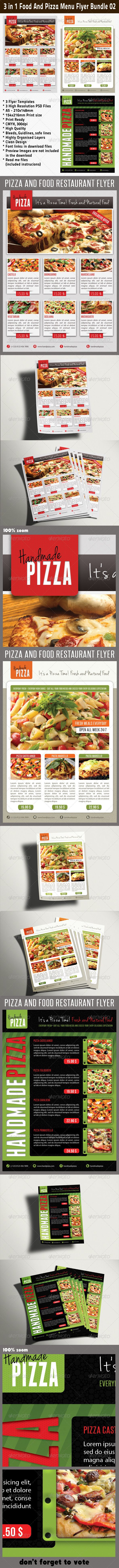 GraphicRiver 3 in 1 Food And Pizza Menu Flyer Bundle 02 6274120