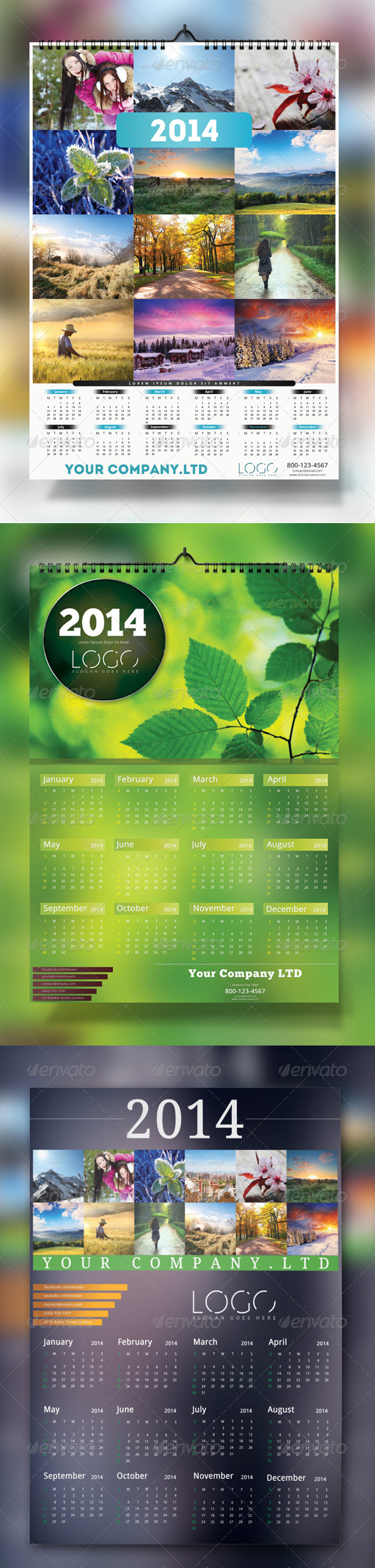 GraphicRiver 2014 Wall Calendar Bundle 6274122
