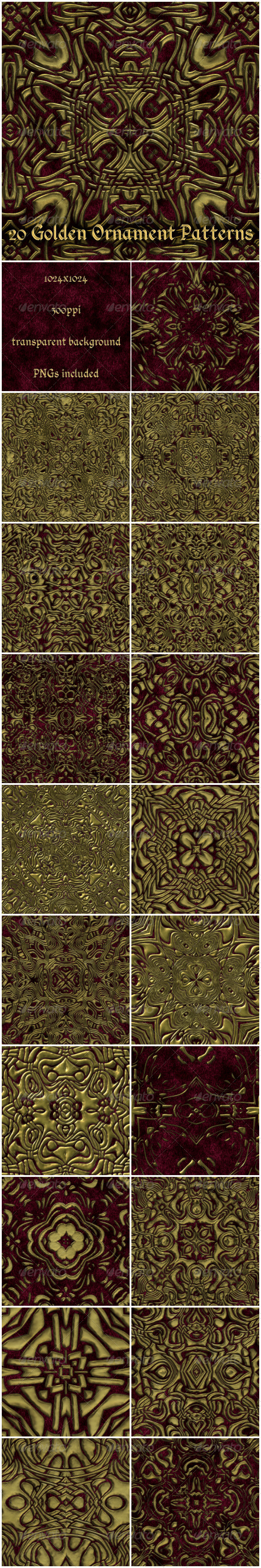 GraphicRiver 20 Gold Ornament Patterns 6274271