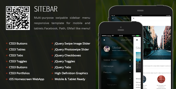 ThemeForest Sitebar Mobile & Tablet Responsive Template 6274413