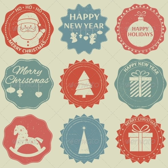 GraphicRiver Christmas New Year Label Set 6274460