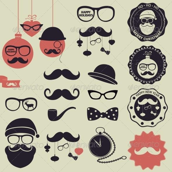 GraphicRiver Hipster Christmas Set 6274483