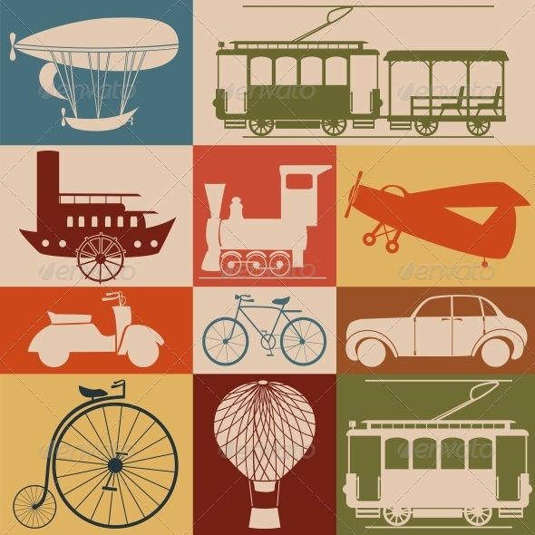 Retro Transport Icons