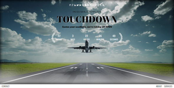 Touchdown || Responsive Coming Soon Page - Under Construction Specialty Pages