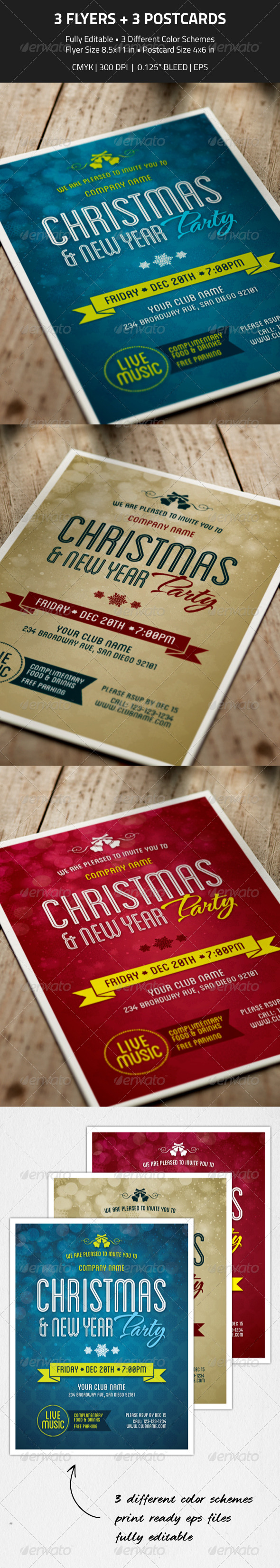 GraphicRiver Christmas New Year Party Flyer & Invitation 6255801
