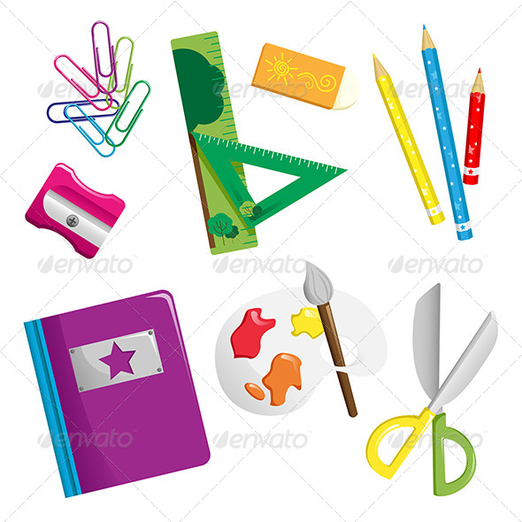 GraphicRiver School Supplies Icons 6266735