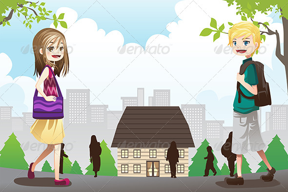 GraphicRiver Kids Going to School 6275944