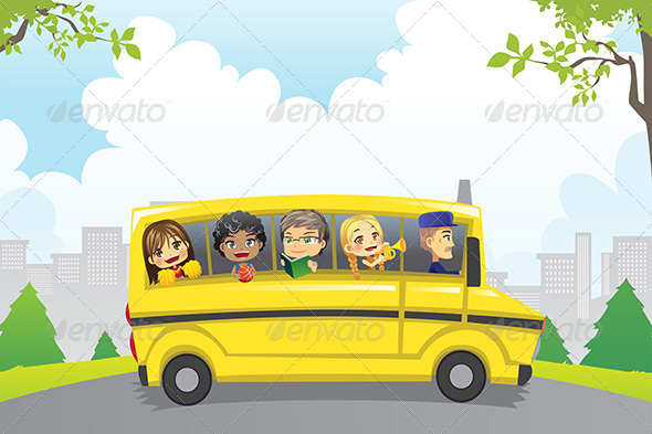 GraphicRiver Kids in School Bus 6275976