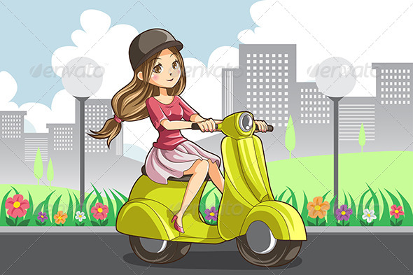 GraphicRiver Girl Riding Scooter 6276082