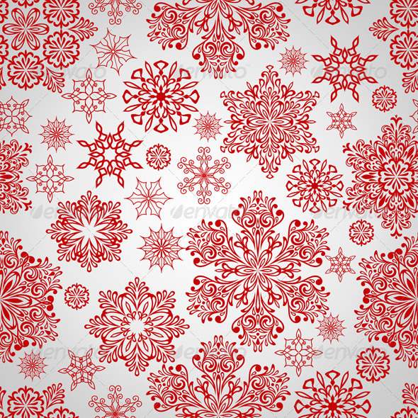 Vector Seamless Pattern with Red Snowflakes